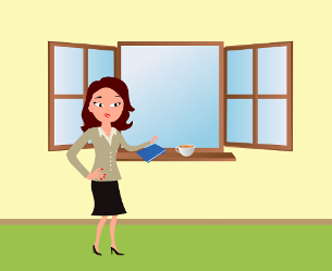 Office lady standing in front of the window