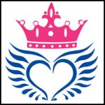 Angel wings with crown icon vector