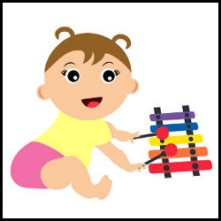 Baby playing xylophone vector