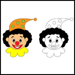 Happy circus clown colouring activity vector