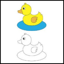 Rubber duck on water vector