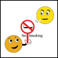 Smiley with no smoking sign vector