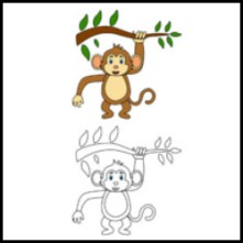 Monkey for colouring book vector