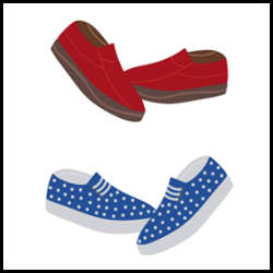 Colorful loafer shoes on white background