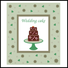 Wedding or birthday cake card vector