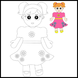 cartoon doll to be traced illustration