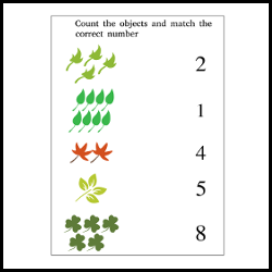 Match the numbers to the objects, worksheet for preschool illustration