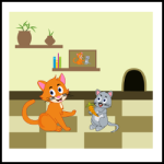 Friendship between cat and mouse illustration