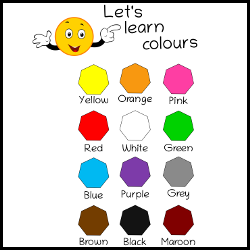Let`s learn colours with smiley illustration