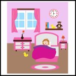 Little girl waking up and yawning in the morning illustration