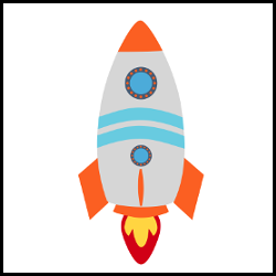 Kids toy, plastic rocket object icon