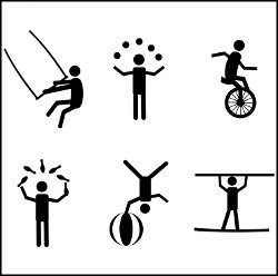 Circus Performers Acrobat Pictograms silhouette vector illustration