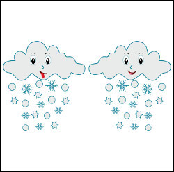 Cute Happy Cloud with Snowflakes vector illustration