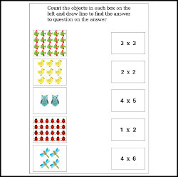 Fun multiplication maths worksheet vector illustration
